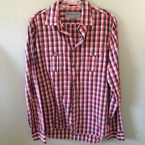michael kors check long sleeve dress shirt
